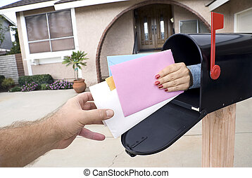 Delivering mail - Mail is custom delivered to a home owner...