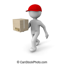 delivering - render of a man running with a cardboard