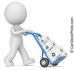 Delivering. - The dude 3D character pushing blue Hand Truck...