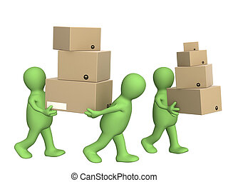 Delivering - Three puppets with boxes. Isolated over white