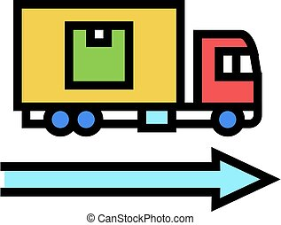 delivering truck color icon vector illustration