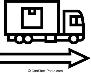 delivering truck line icon vector illustration