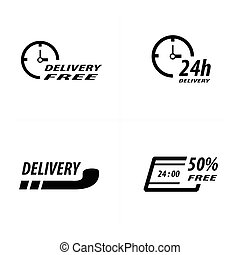 Delivery 24 hour icon design