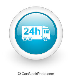 delivery 24h blue circle glossy web icon on white background...