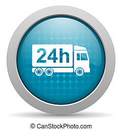 delivery 24h blue circle web glossy icon