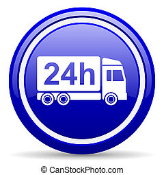 delivery 24h blue glossy icon on white background