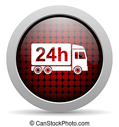 delivery 24h glossy icon