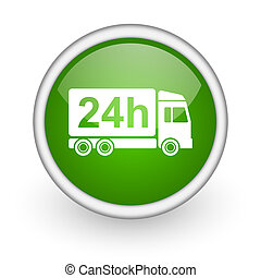 delivery 24h green circle glossy web icon on white background
