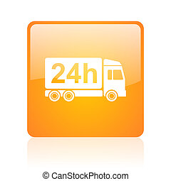 delivery 24h orange square glossy web icon