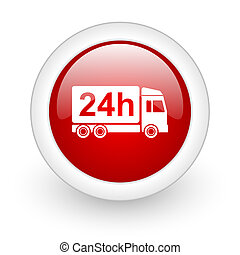 delivery 24h red circle glossy web icon on white background