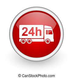 delivery 24h red circle web icon on white background