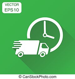 Delivery 24h truck with clock icon. Business concept 24 hours fast delivery service shipping pictogram. Vector illustration on green background with long shadow.
