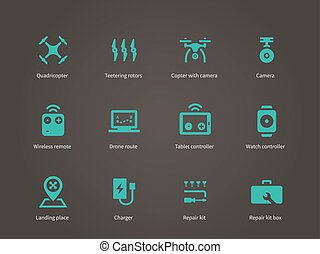 Delivery air drone icons set. Vector illustration.