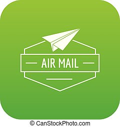 Delivery airplane icon green vector