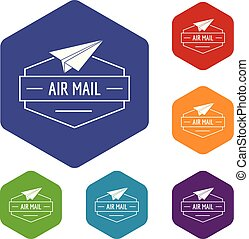 Delivery airplane icons vector hexahedron