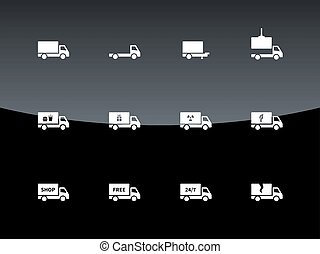 Delivery and cargo truck icons on black background.