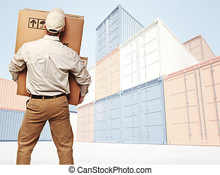 delivery and colorful container - delivery man and...