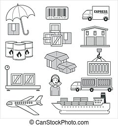 Delivery and logistics, parcels and cargo transportation isolated icons