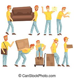 Delivery And Moving Company Employees Carrying Heavy Objects, Delivering Shipments And Helping With Resettlement Set OF Illustrations