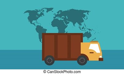 Delivery around world HD animation - Delivery truck and...