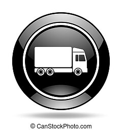 delivery black glossy icon