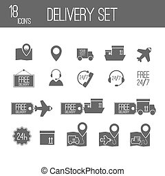 delivery black set icons. Vector Illustration