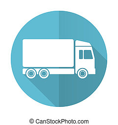 delivery blue flat icon truck sign