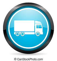 delivery blue glossy circle icon on white background