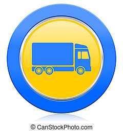 delivery blue yellow icon truck sign