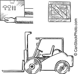 Delivery and logistics service concept with carrying box in hands, wooden crate and forklift truck, outline sketch style