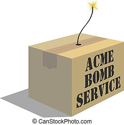 delivery box with a bomb inside vector illustration eps 10