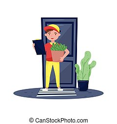 Delivery boy standing near door, holding clipboard and paper bag full of fresh products. Flat vector design