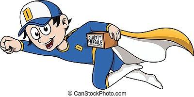 Delivery boy using super hero costu