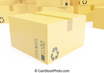 Delivery business concept, stack of corrugated cardboard box, packages isolated on white. 3d rendering