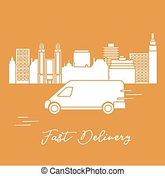 Delivery by car in the city. Fast and convenient shipping. Free delivery.