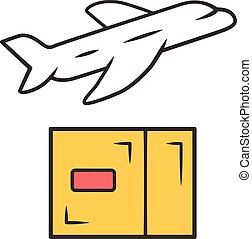 Delivery by plane color icon. International cargo shipping. Air freight. Transfer and shipment of parcels, packages. Express air delivery, airmail. Cargo aircraft. Isolated vector illustration