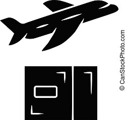Delivery by plane glyph icon. International cargo shipping. Air freight. Transfer and shipment of parcels. Express air delivery, airmail. Cargo aircraft. Silhouette symbol Vector isolated illustration