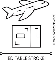 Delivery by plane linear icon. International cargo shipping. Air freight. Transfer and shipment of parcels, packages. Cargo aircraft. Contour symbol. Vector isolated outline drawing. Editable stroke