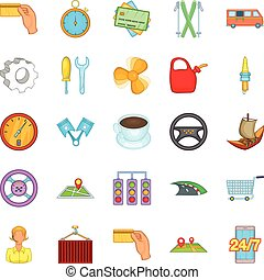 Delivery by transport icons set, cartoon style