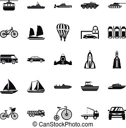 Delivery by transport icons set, simple style - Delivery by...