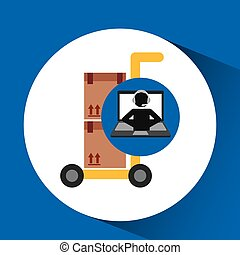 delivery call centre operator online hand truck package...
