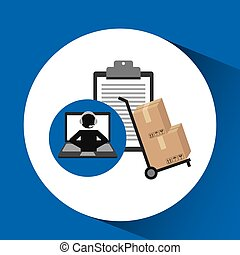 delivery call centre operator online clipboard and hand...
