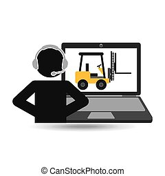 delivery call centre operator online forklift truck vector...