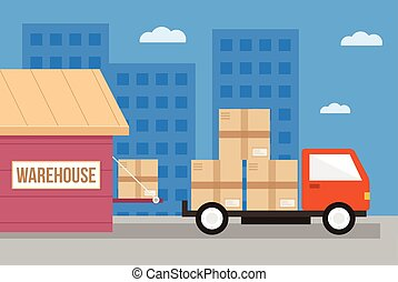 Delivery car and carton boxes. Loading concept. Vector flat cartoon illustration