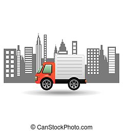 delivery car city background design