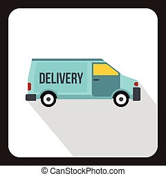 Delivery car logo, flat style.