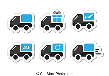 Lorry, van delivery, courier black and blue labels isolated on white