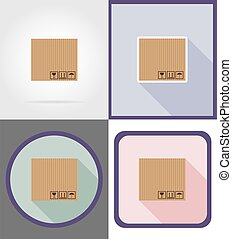 delivery cardboard box flat icons vector illustration