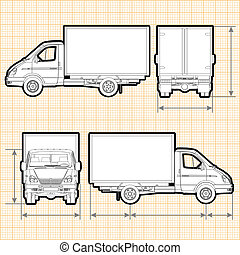 Delivery Cargo Truck ortho sparated by groups and layers for easy edit