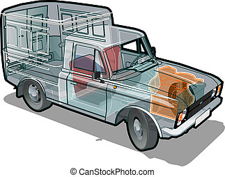 delivery / cargo van infographics cutaway